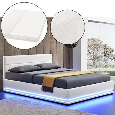 Polsterbett Kunstlederbett Bettkasten mit LED Bettgestell Matratze 180 x 200 cm