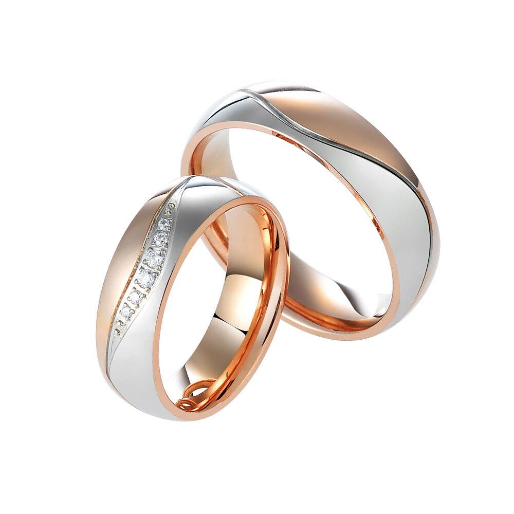 2 Partnerringe Trauringe Hochzeit Verlobung Ehe Ringe Edelstahl Gravur JPR050-1