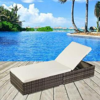 Adjustable Pool Chaise Lounge Chair Outdoor Patio Furniture Wicker w/ Cushion US