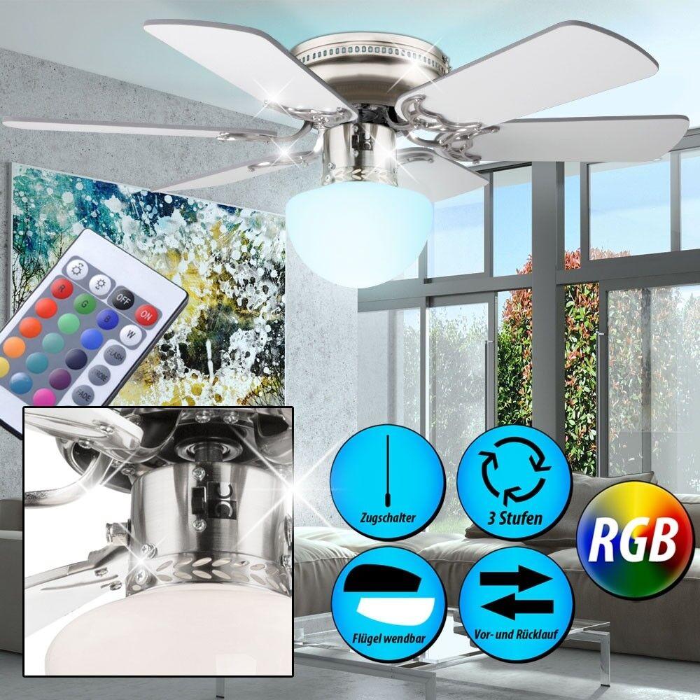 RGB LED Decken Ventilator mit Fernbedienung Leuchte Raum Kühler Wärmer Dimmbar