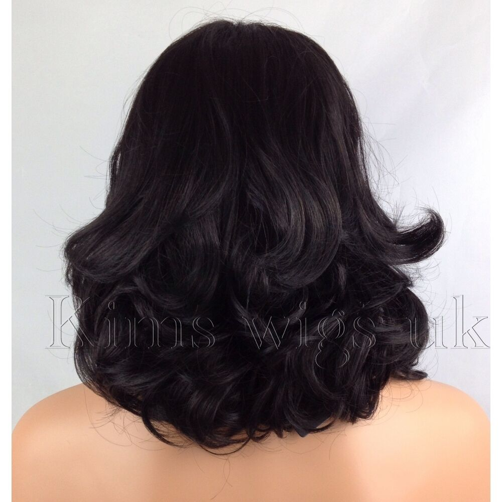 FULL SHORT WOMENS LADIES FASHION HAIR WIG CURLY BLACKDARK