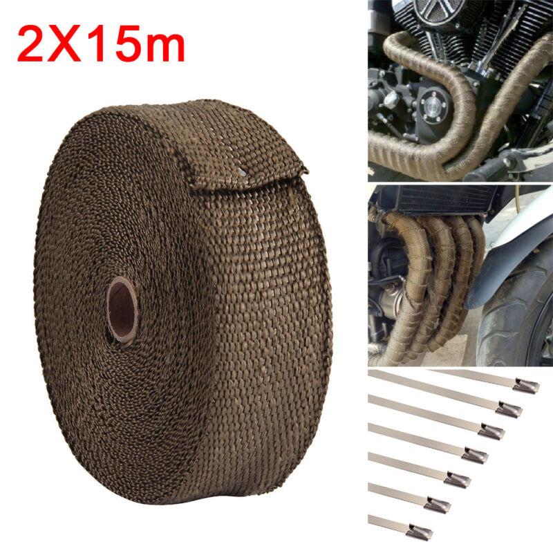 2x15m Titan Hitzeschutz band breit Auspuff Band 1400° Heat Wrap Krümmer 30m