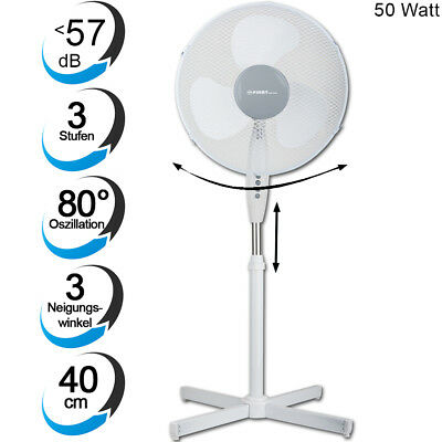 Standventilator oszillierend Ventilator 50Watt Ø40cm Flügelventilator weiß leise