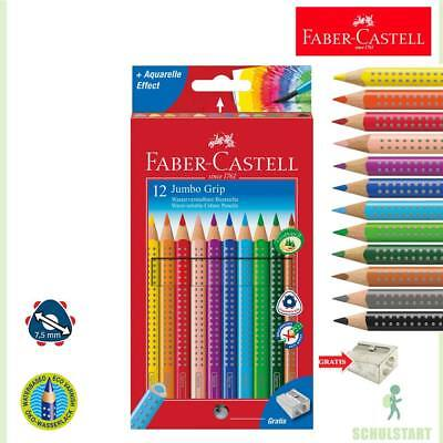 Faber-Castell Jumbo Grip 12er Buntstifte, dicke Farbstifte + Spitzer Schulanfang
