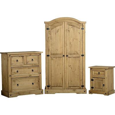 Corona Pine Bedroom Furniture Set Solid Wood Wardrobe Chest Bedside