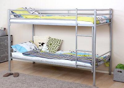 Etagenbett HWC-D93, Hochbett Gästebett Bett Metallbett mit Leiter, 90x200cm