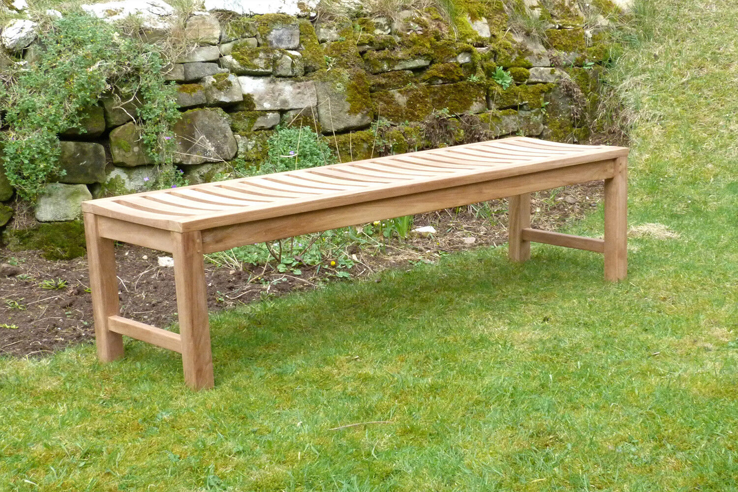 details about 3 seater teak wooden garden bench outdoor patio seat chair backless solid wood