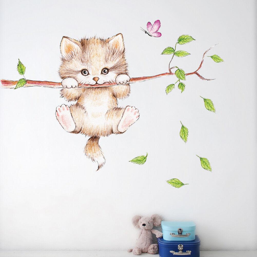 Wandtattoo Katze Cat Kinderzimmer süß Mädchen Junge Tiere Aufkleber Sticker Baum