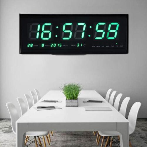 LED Wanduhr Digital Uhr mit Datum Temperatur Feuchtigkeit Haus Büro Deko 4819 GO