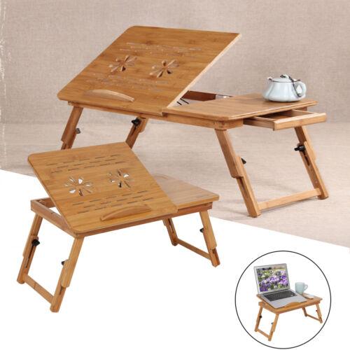 details sur table de lit pliable ordinateur pour pc portable notebook table bambou plateau