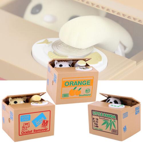 Elektrische Sparschwein Kinder Sparbüchse Süß Panda/Katze Stiehlt Münzen 3 Stil