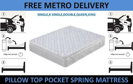 Quality Mattress Pocket Spring Pillow Top 3 Zone Free Delivery