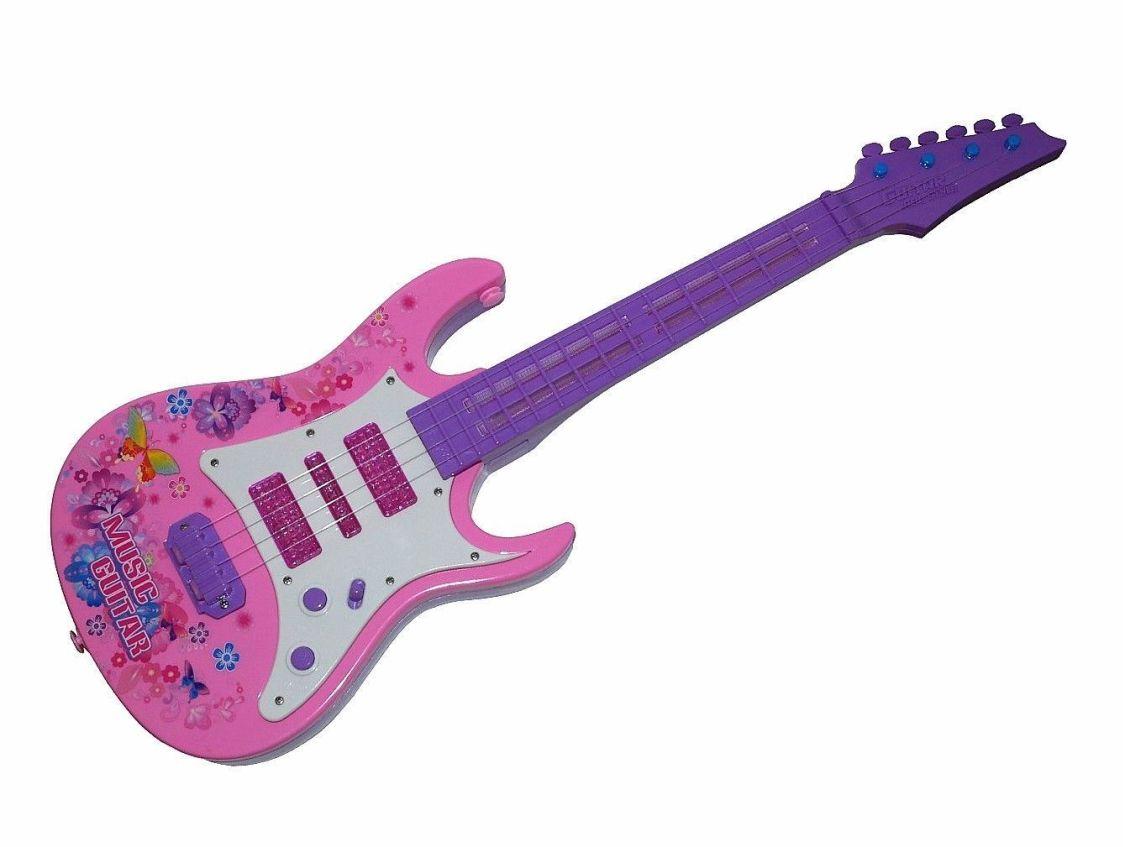 Spielzeug Rock Pop Musik Kindergitarre Gitarre 4 Saiten Instrument LED & Sound