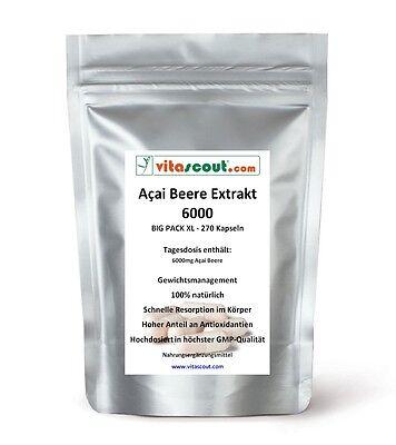 Acai Beere Extrakt - 270 Kapseln - HOCHDOSIERT - No Tabletten - 20 Bonus* zu 250