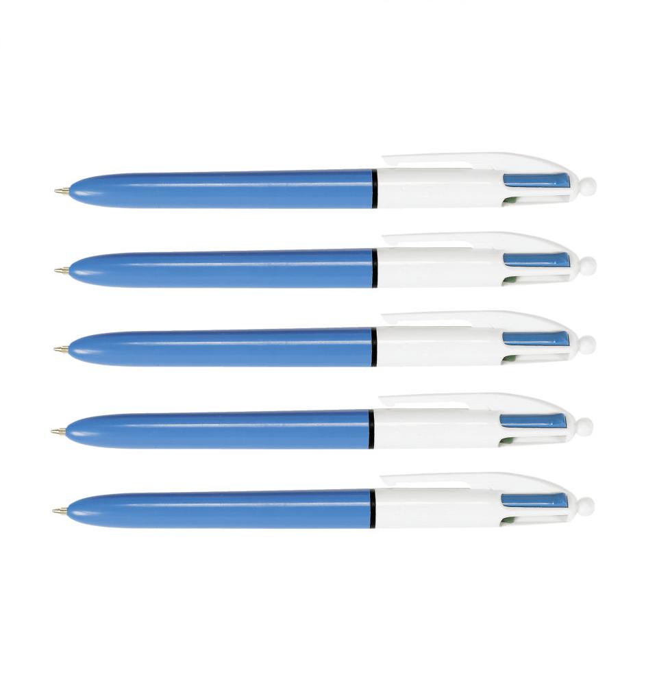 5 x BIC Vierfarb-Kugelschreiber mit vier Farben 0,4 mm mit Druckmechanik 889969