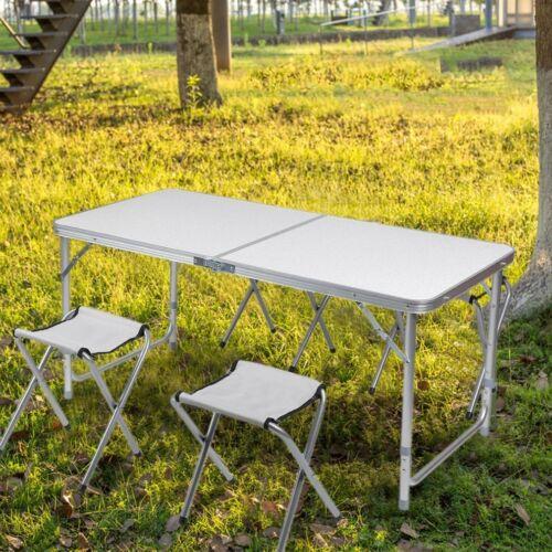 Koffertisch mit 4 Sitzhocker Set Klapptisch Campingtisch Sitzgruppe Aluminium OD