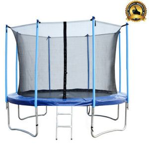 12 FT Round Trampoline with Enclosure, Net W/ Spring Pad Ladder