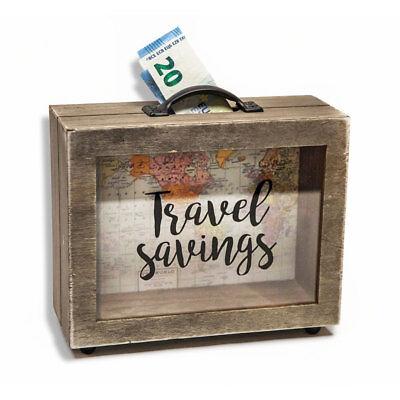 Spardose Sparbüchse in Kofferform Koffer Weltkarte Sparschwein Sparkoffer