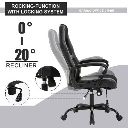 PC Gaming Chair Massage Office Chair Ergonomic Desk Chair Adjustable PU Leather 1