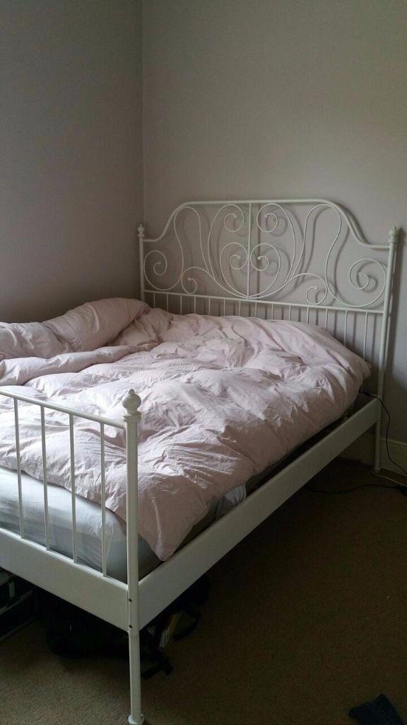 Ikea LEIRVIK Bed Frame Whitelury Standard Double And