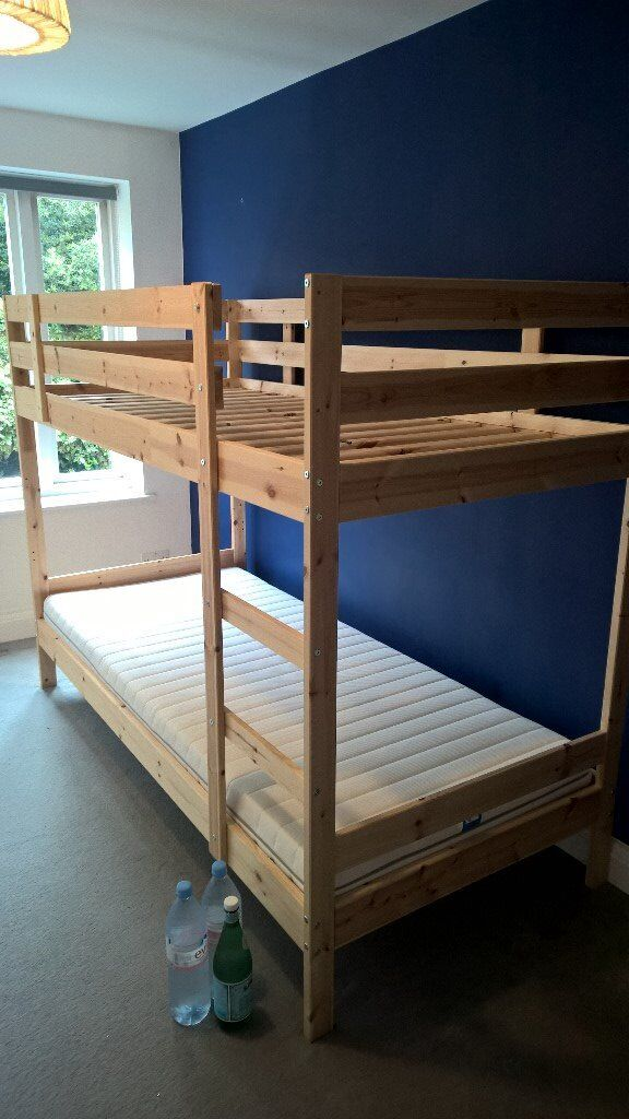 Ikea Mydal Wooden Bunk Bed Complete With 2 X Malfors Mattress Little Used