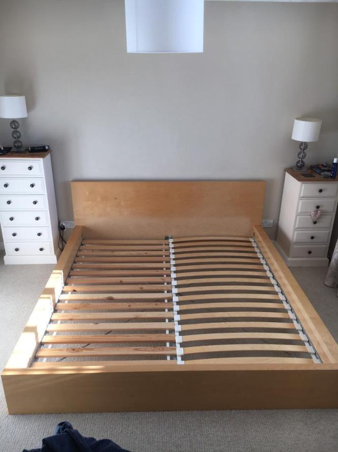 Ikea Malm Super King Bed Frame And 2 Zip Link Mattresses