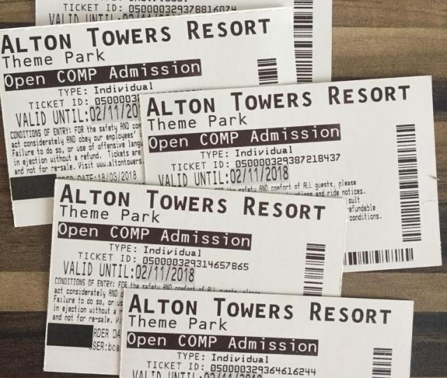 5 X Alton Towers Tickets