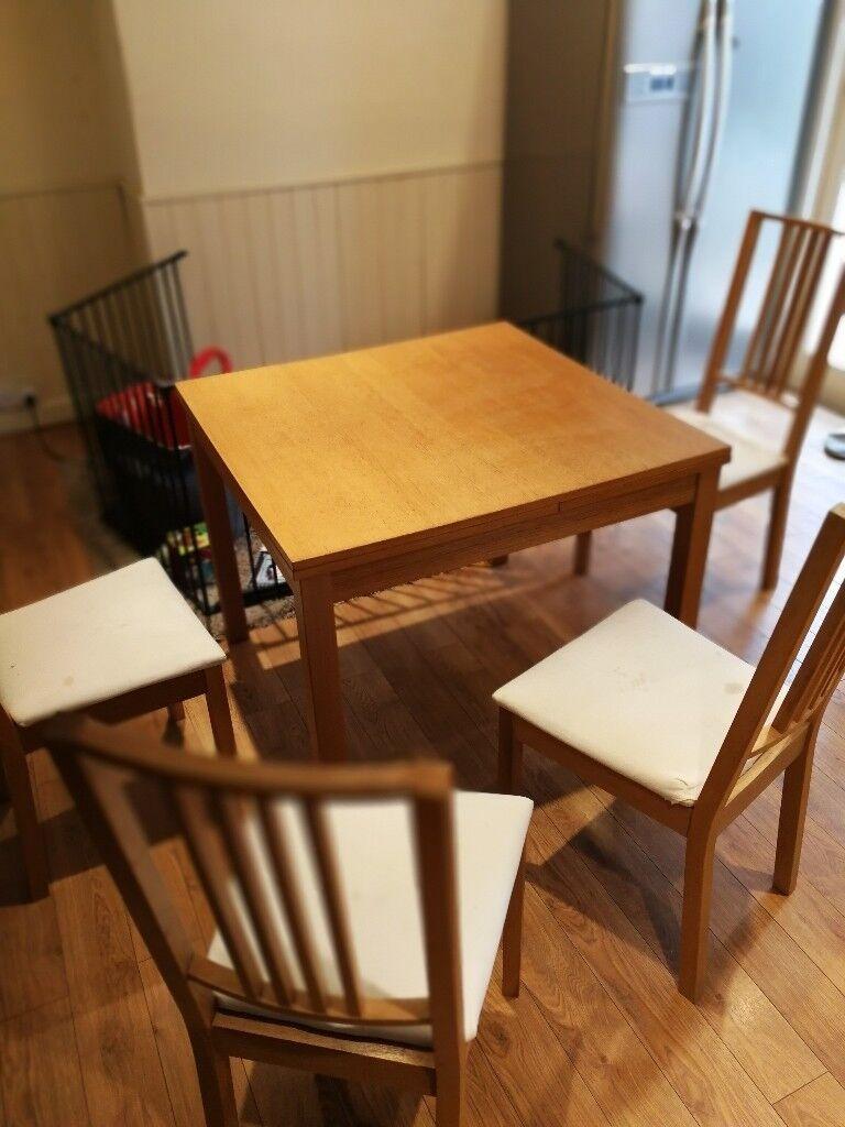Extendable Table Bjursta 507090x90 Cm Ikea 4 Chairs