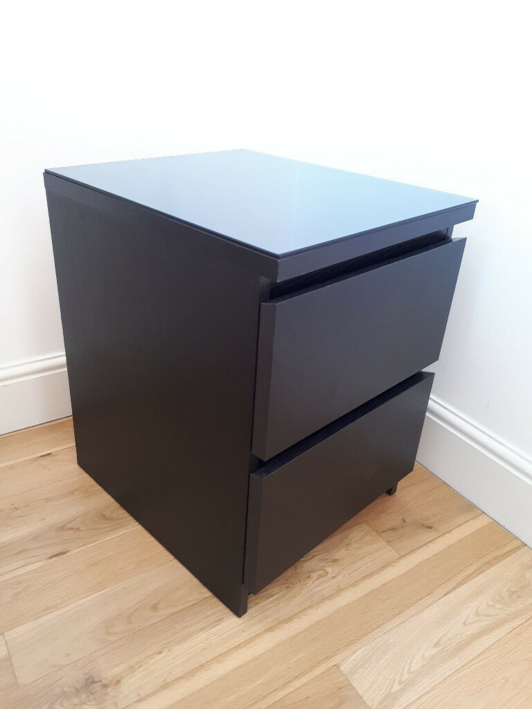 Bedside Table Ikea Malm With Glass Top In Chiswick London Gumtree