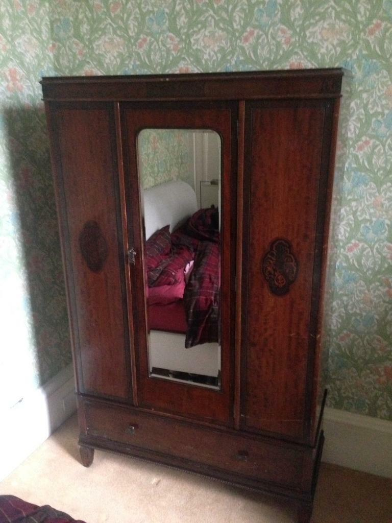 Antique Mahogany Wardrobe with Mirror, drawer and lockable ...