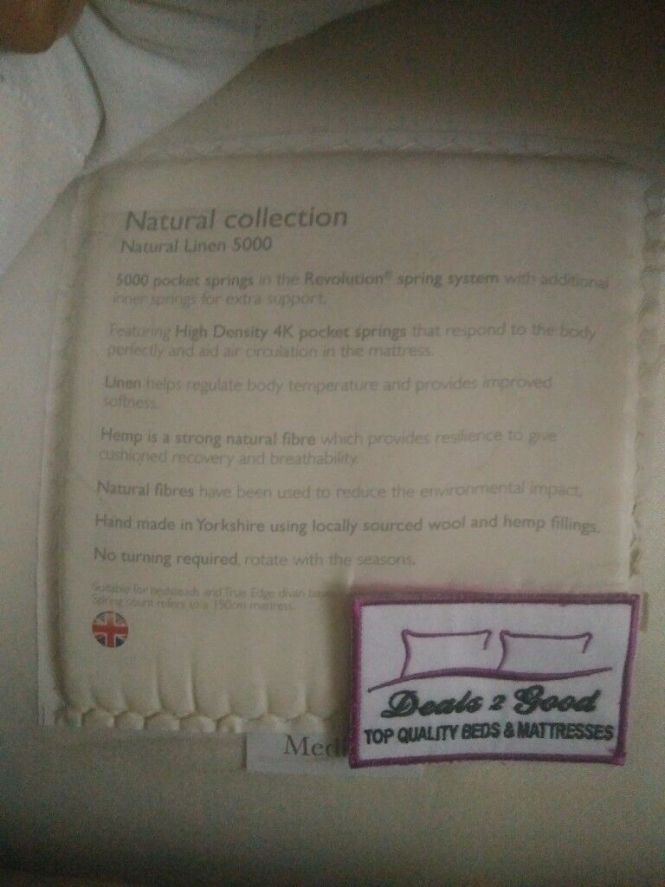John Lewis Double Bed Natural 5000 Pocket Sprung Mattress Used For A Year