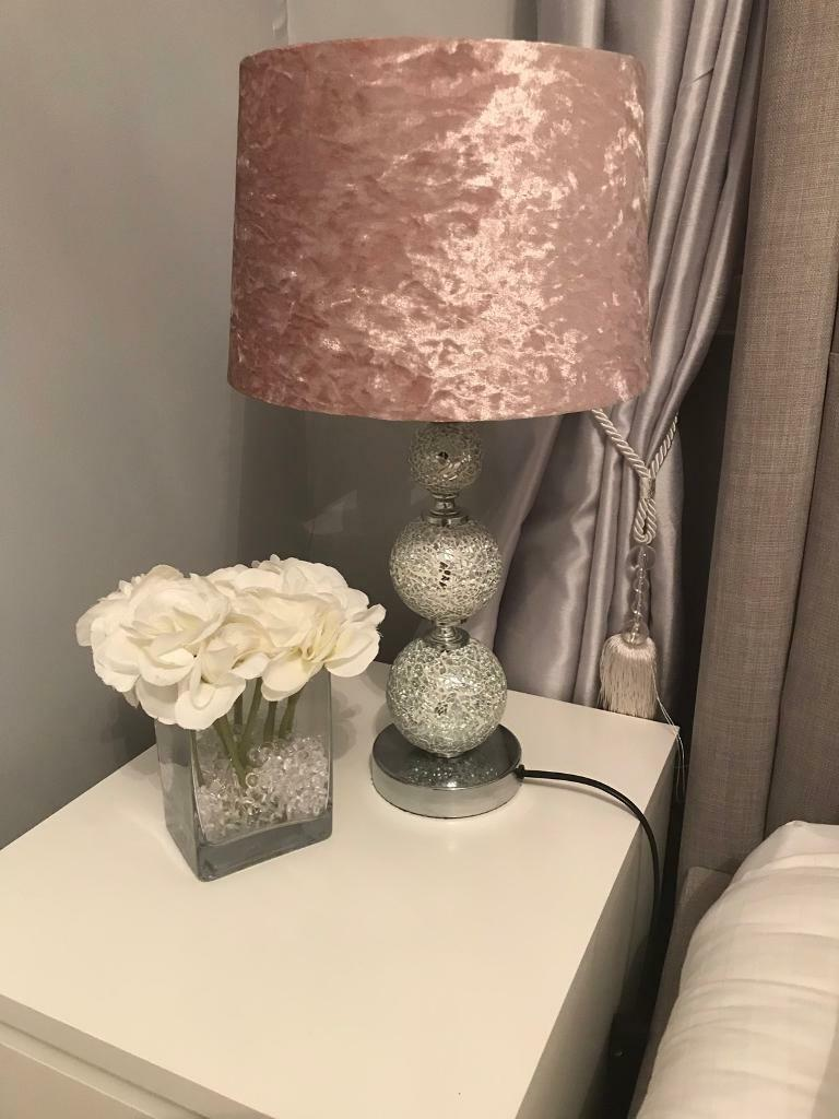 Table Lamps X2 Pink Blush Crushed Velvet Mosaic Mirror Base In Clydebank West Dunbartonshire Gumtree