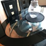 B M Black Glass Dining Room Table With 4 Faux Leather Chairs Pick Up Only In Stirling Gumtree