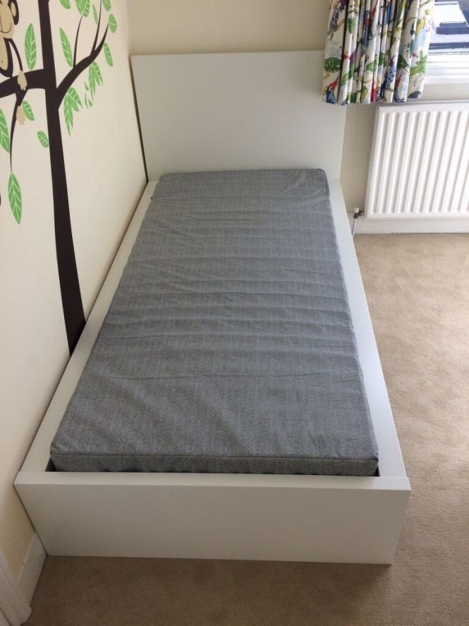 Ikea Malm Single White Bed With Jomna Mattress Assembled Never Used