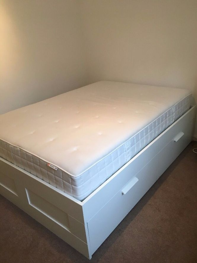 Ikea Double Brimnes Bed Frame With Hyllestad Mattress