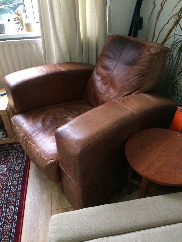 Shabby Chic Brown Leather Armchair In Sheffield South Yorkshire Gumtree