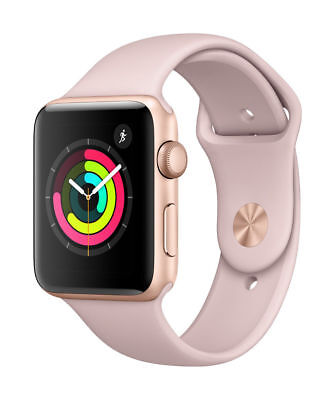 Apple Watch Series 3 38mm Gold Aluminium Case Pink Sand Sport Band *NEW*