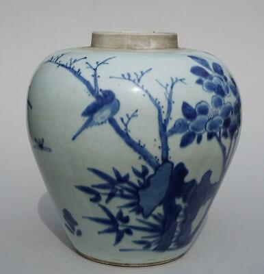 Chinese Blue And White Jar, Early Qing Transitional.