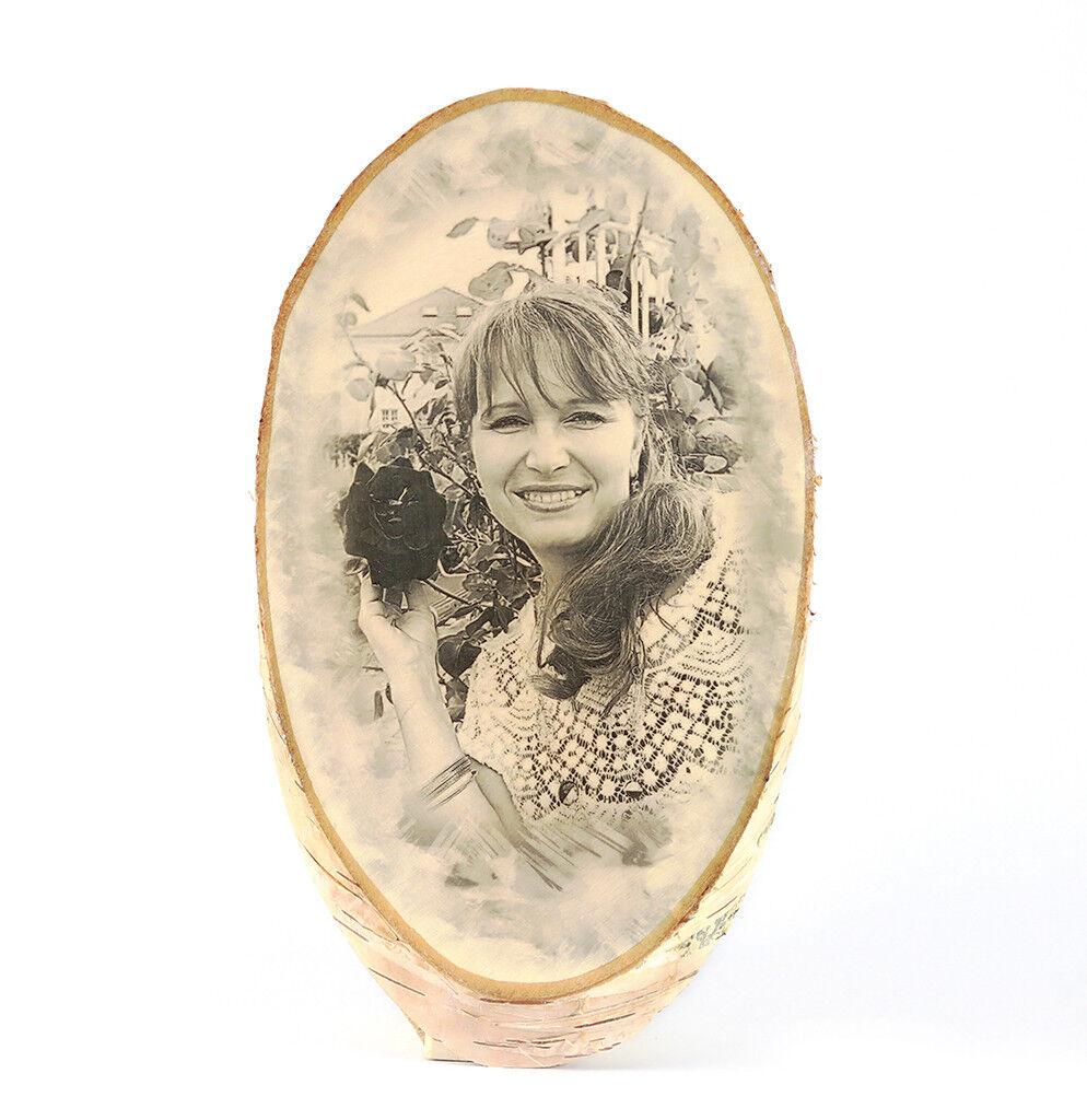 Bild Foto auf Holz Baumscheibe Geschenkidee Weihnachten Familienfoto Jubiläum