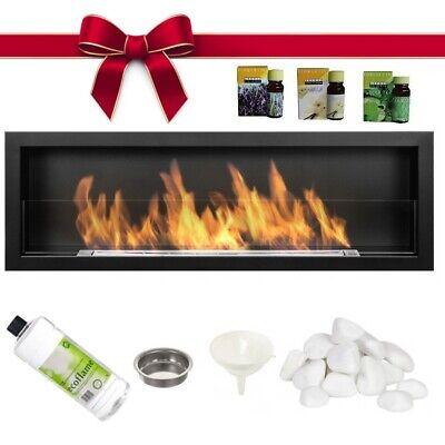 BIO ETHANOL FIREPLACE 1200x420 DESIGN ECO FIRE BURNER LONG GLASS + ACCESSORIES