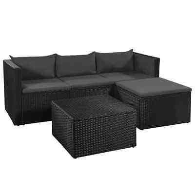 vidaXL Gartensofa 10-tlg. Poly Rattan Sitzgruppe Gartenmöbel Lounge Gartenset