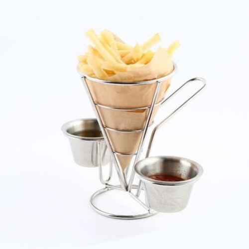 Edelstahl Rund Pommes frites Korb Halter mit Sauce Tasse Halter für Tisch