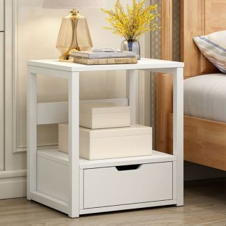 2-Tier Night Stand Bedroom End Table Bedside Furniture Drawer Sturdy Storage WH-