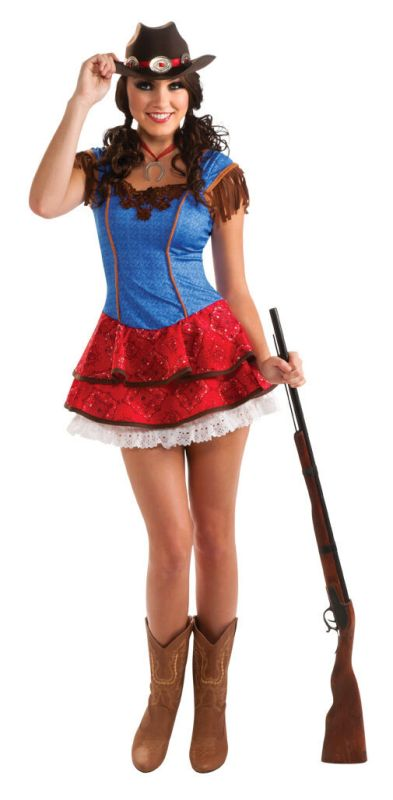 Womens Cowgirl Costume Cow Girl Rodeo Fancy Dress Halloween Adults Sexy Hat NEW