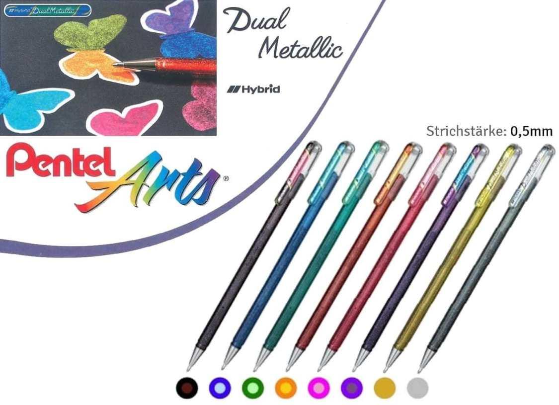 Pentel Hybrid DualMetallic Gelstifte Gelschreiber Glitzer Gel-Tinte in 8 Farben