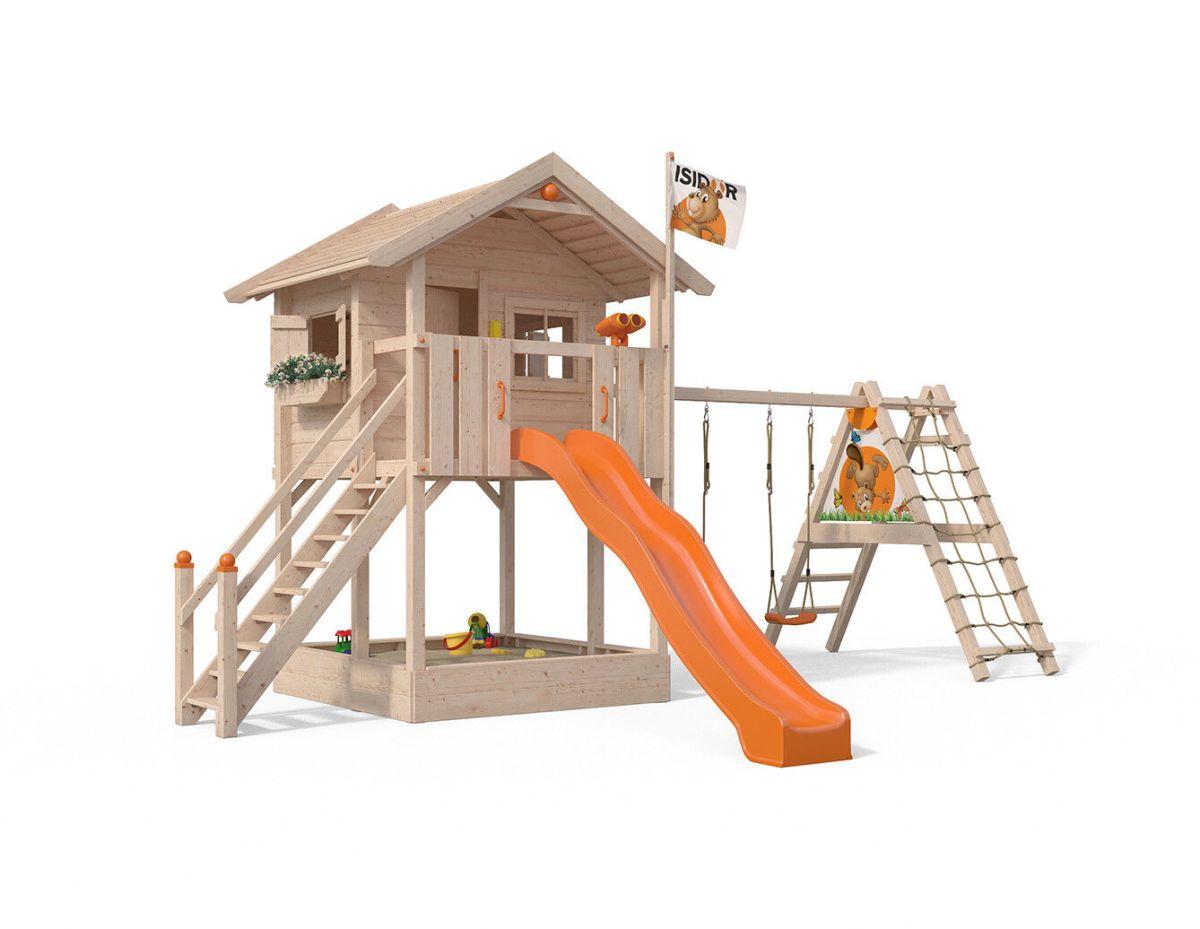 Fridolino Spielturm Baumhaus Stelzenhaus Schaukel XXL-Rutsche 1,50m Podesthöhe