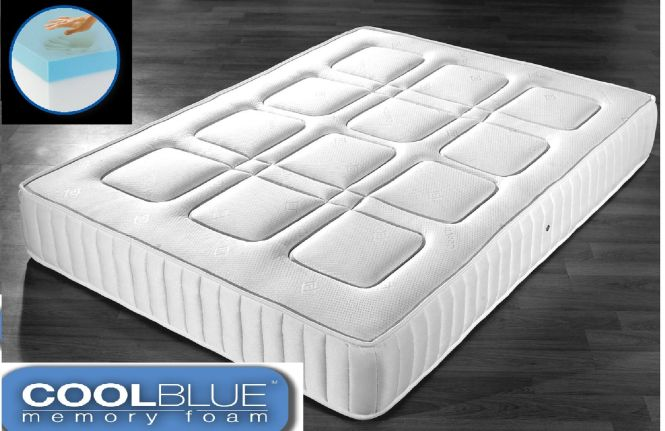 Cool Blue Memory Foam Mattress Pocket Sprung 3ft Single 4ft6 Double 5ft King