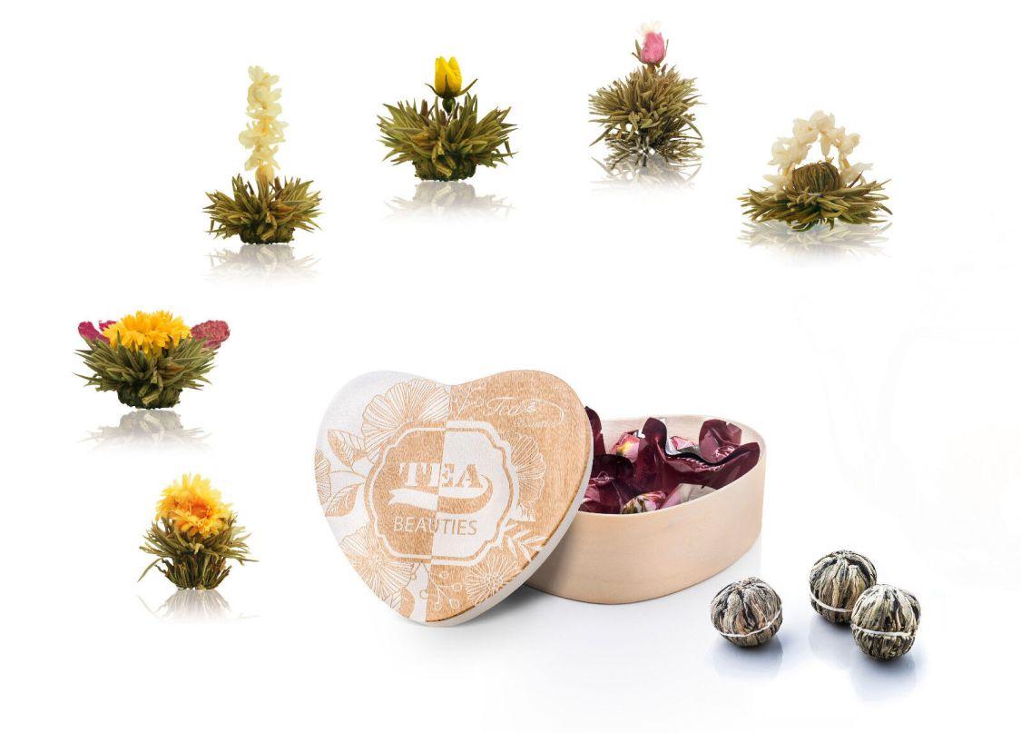 Creano 290 6er Set Teeblumen/Erblühtee in Holzbox weißer Tee