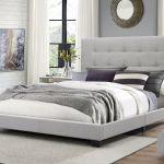 Upholstered Platform Bed King Beige Button Tufted Fabric Headboard For Sale Online Ebay