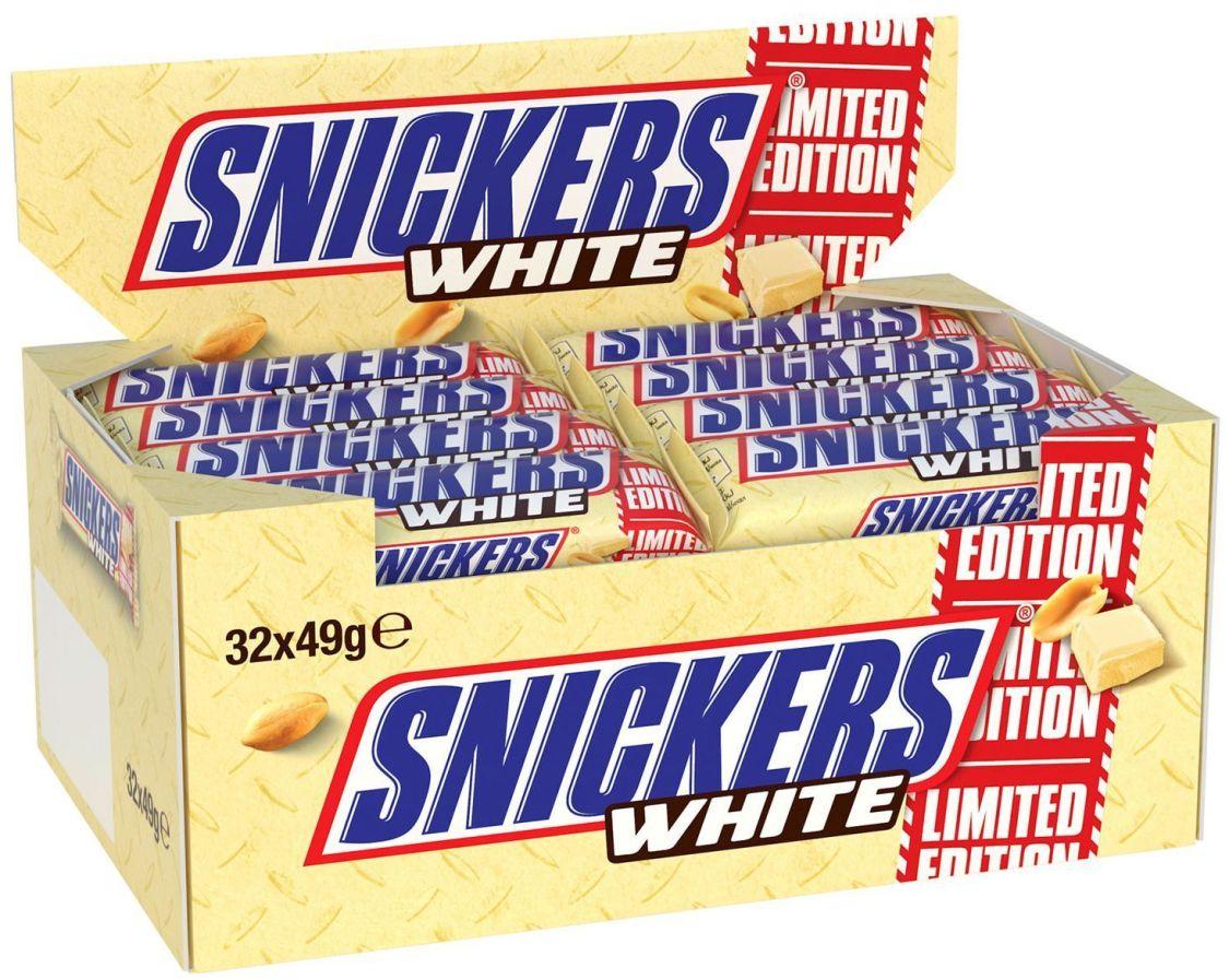 (1000g=8,92€) Snickers White - Schokoriegel - Weiße Schokolade - 32 Stück